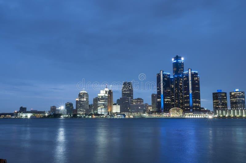 Skyline de Detroit michigan imagens de stock royalty free