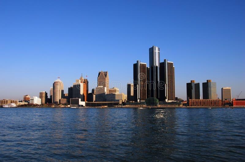 Skyline de Detroit no dia foto de stock