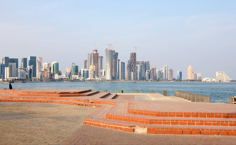 Skyline de Doha fotos de stock royalty free