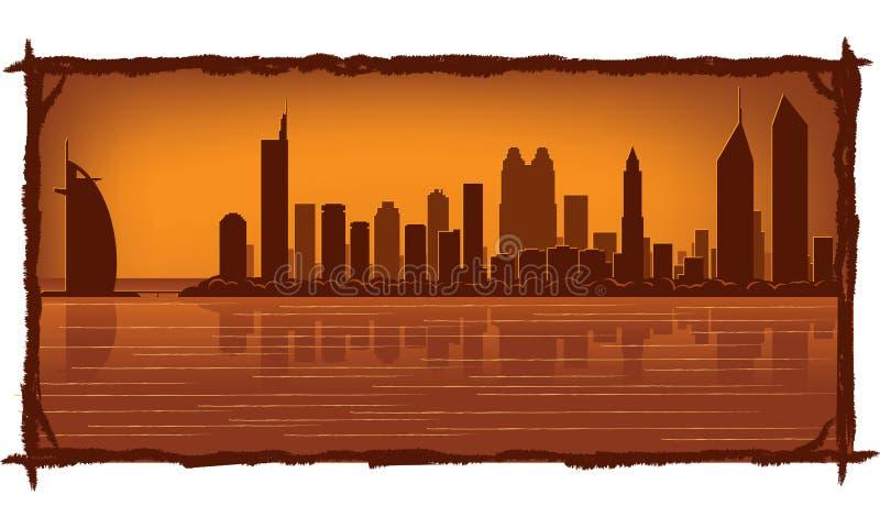 Skyline de Dubai ilustração royalty free