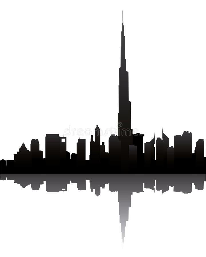 Skyline de Dubai com burj Dubai ilustração royalty free