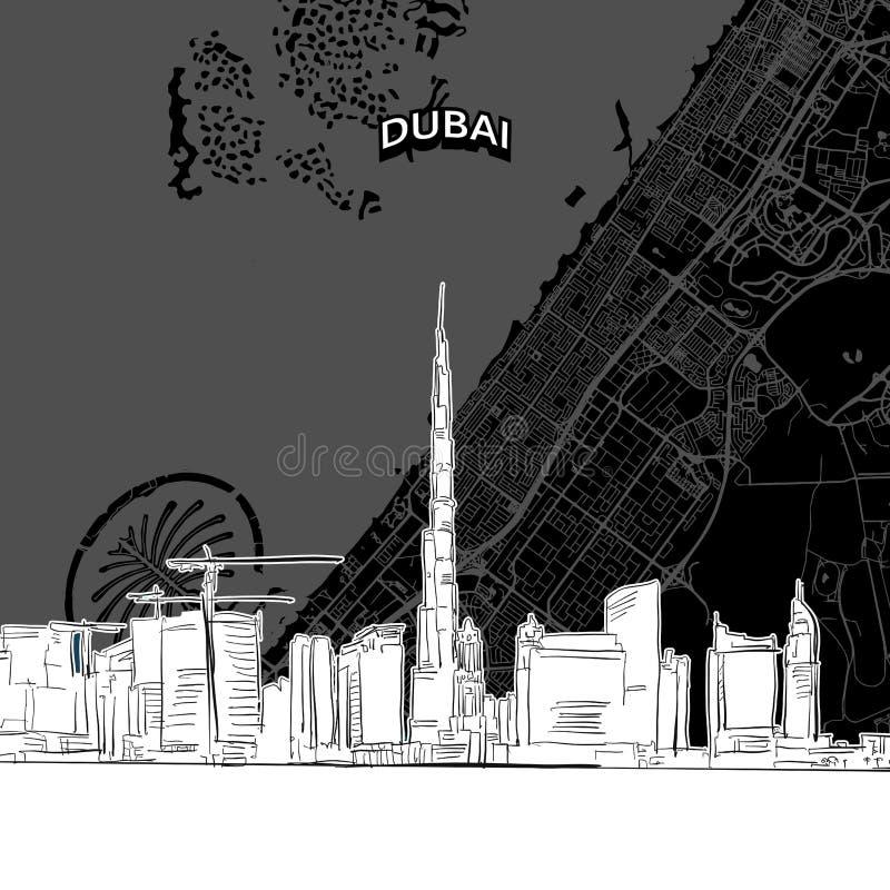 Skyline de Dubai com mapa ilustração do vetor