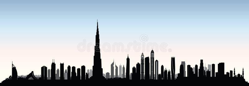 Skyline de Dubai da cidade A arquitetura da cidade Emiratos Árabes Unidos dos UAE urbano vie ilustração do vetor
