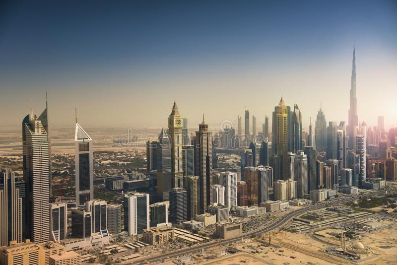 Skyline de Dubai do ar imagem de stock royalty free