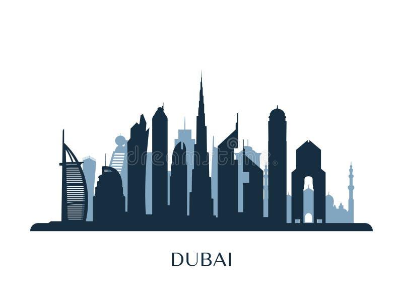 Skyline de Dubai, silhueta monocromática ilustração stock