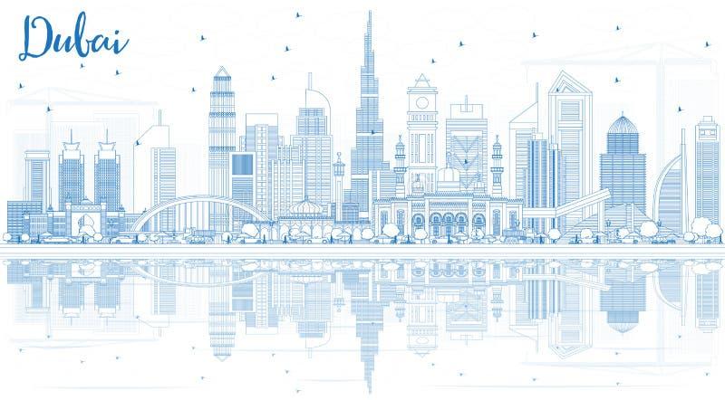 Skyline de Dubai UAE do esboço com construções azuis e reflexões ilustração stock