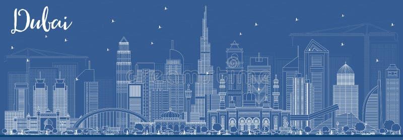Skyline de Dubai UAE do esboço com construções brancas ilustração stock