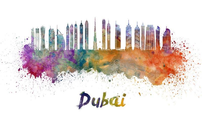 Skyline de Dubai V2 na aquarela ilustração royalty free