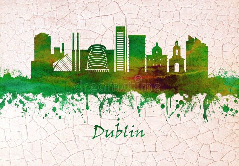Skyline de Dublin Ireland ilustração do vetor