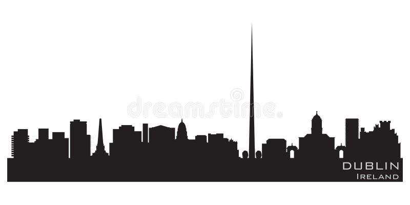 Skyline de Dublin Ireland City Silhueta detalhada do vetor ilustração royalty free