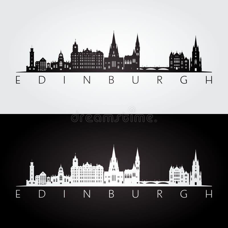 Skyline de Edimburgo e silhueta dos marcos ilustração stock