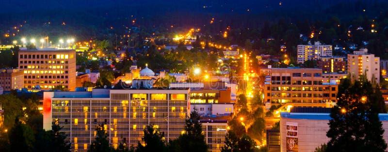 Skyline de Eugene na noite foto de stock royalty free