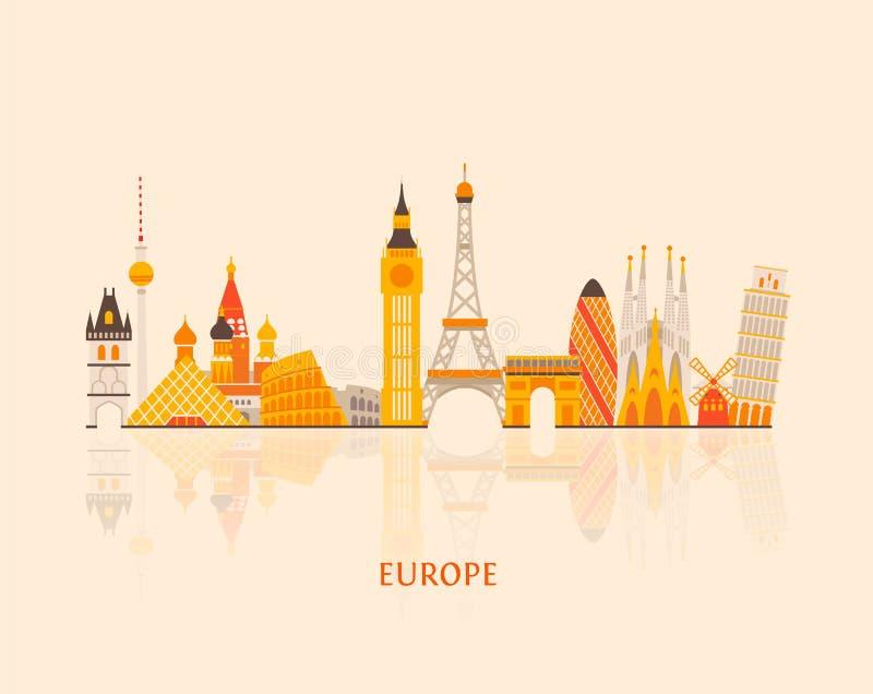 Skyline de Europa ilustração royalty free