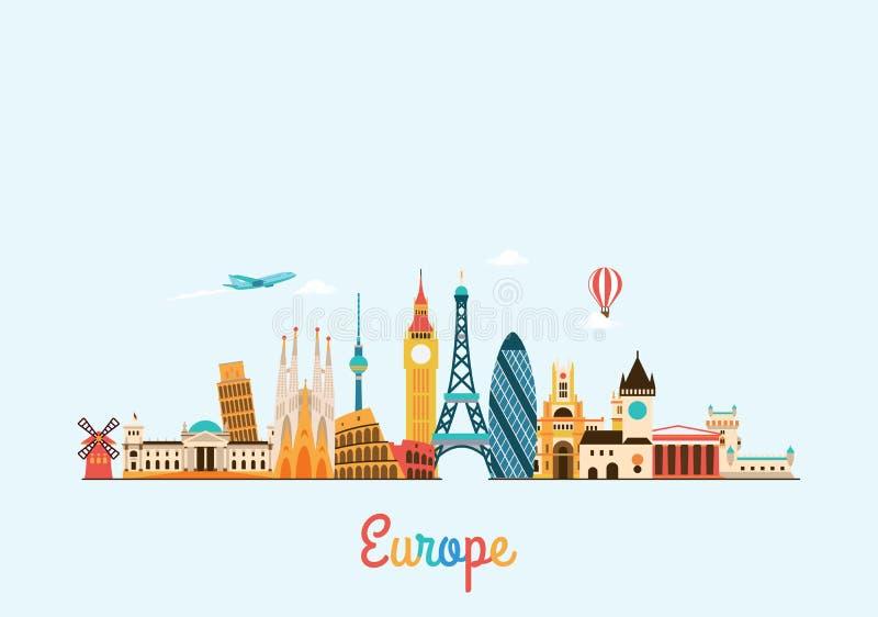 Skyline de Europa Fundo do curso e do turismo ilustração do vetor