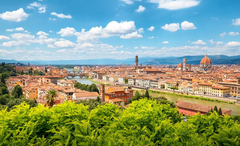 Skyline de Florença em um dia ensolarado foto de stock