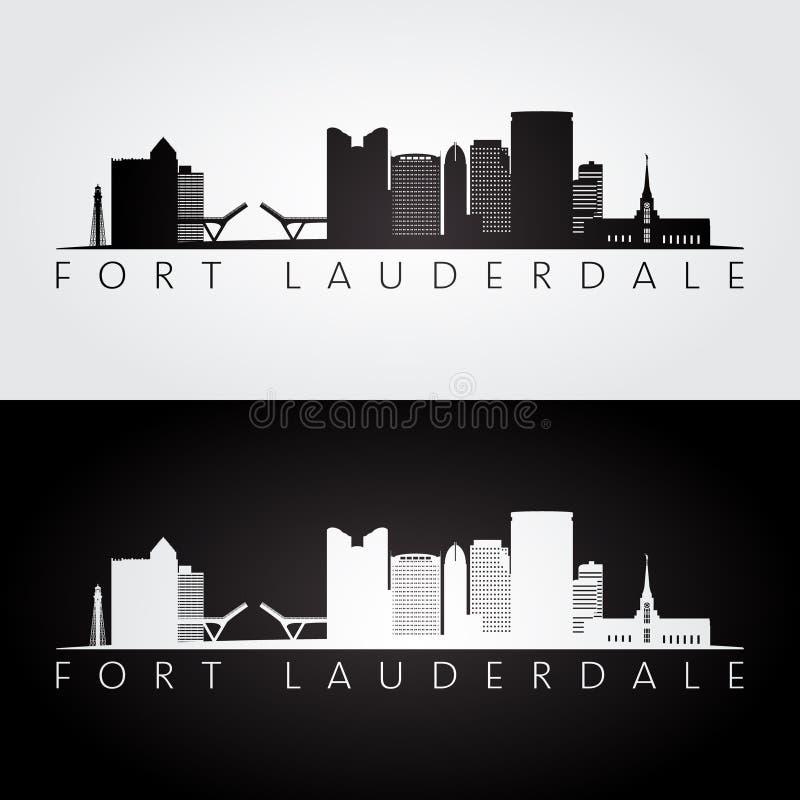Skyline de Fort Lauderdale, EUA e silhueta dos marcos ilustração stock