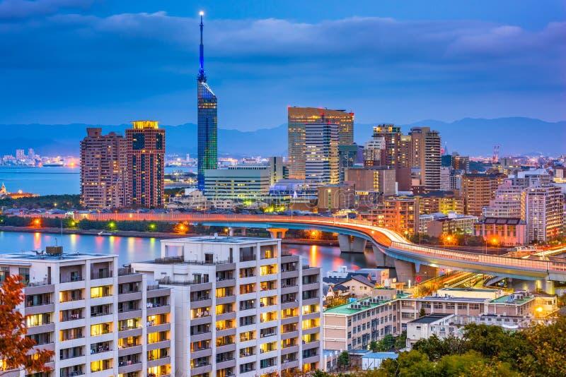 Skyline de Fukuoka, Japão imagem de stock royalty free