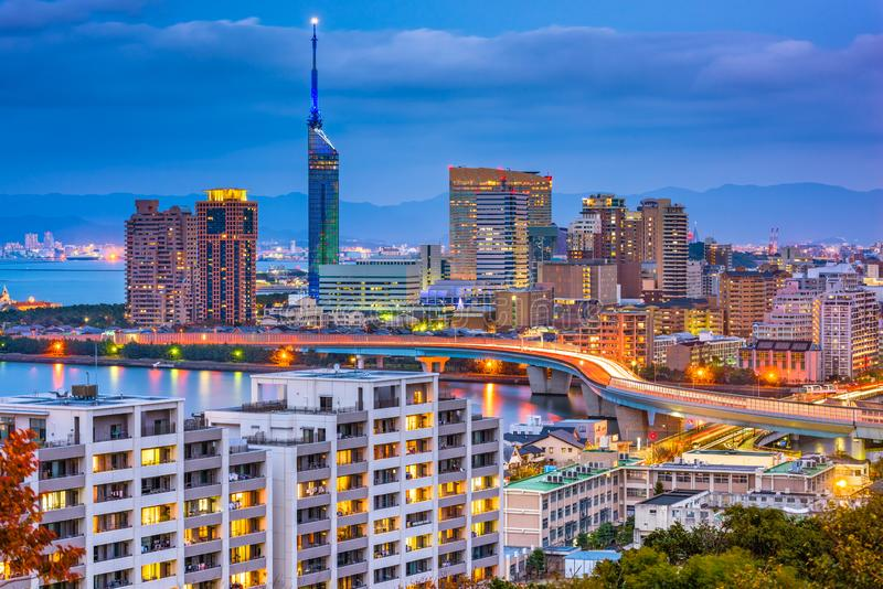Skyline de Fukuoka, Japão foto de stock