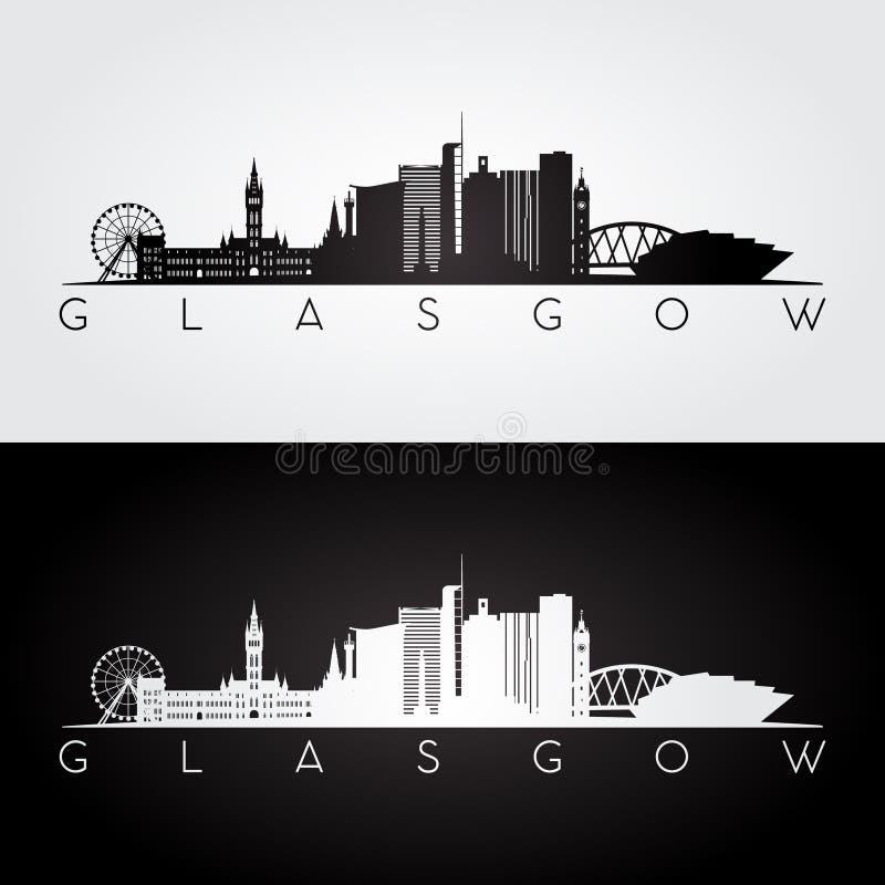 Skyline de Glasgow e silhueta dos marcos