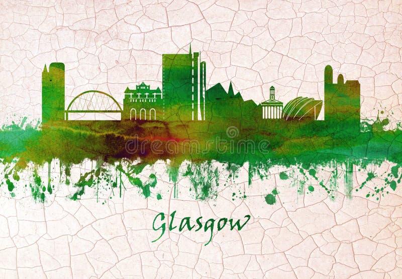 Skyline de Glasgow Scotland ilustração royalty free