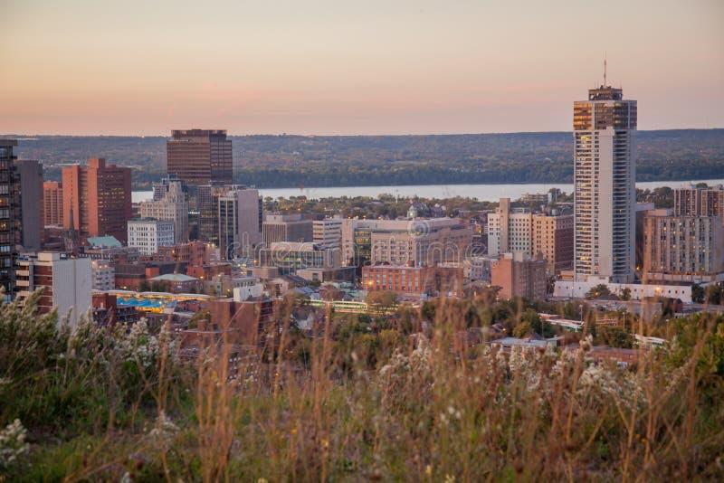 Skyline de Hamilton do centro, Ontário imagem de stock royalty free
