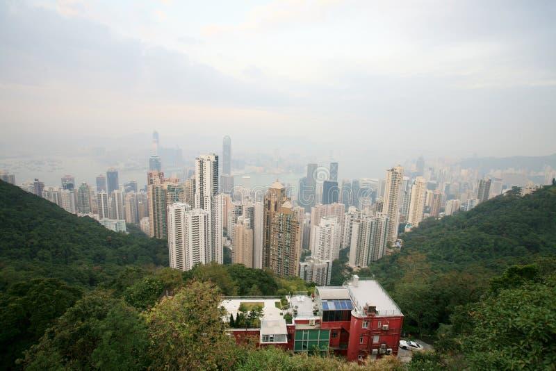 Skyline de Hong Kong do pico de victoria fotos de stock