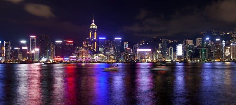 Skyline de Hong Kong Island Central City na noite fotos de stock