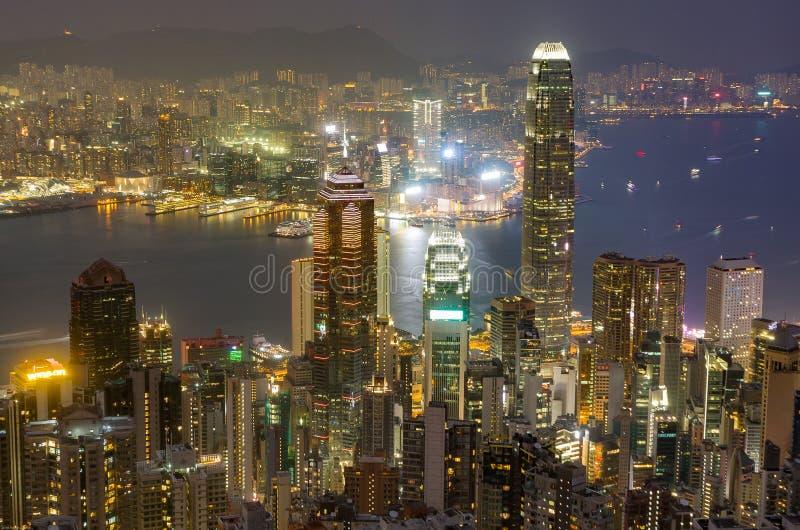 Skyline de Hong Kong na noite como visto de Victoria Peak fotos de stock