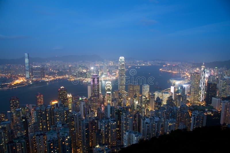 Skyline de Hong Kong no crepúsculo fotografia de stock