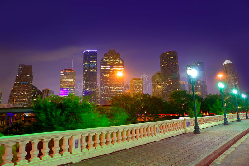 Skyline de Houston no por do sol Sabine St Texas EUA fotos de stock