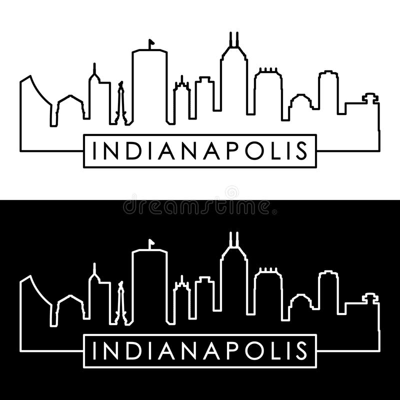 Skyline de Indianapolis estilo linear ilustração do vetor
