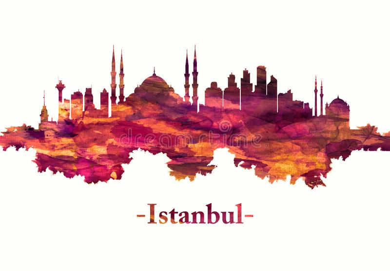 Skyline de Istambul Turquia no vermelho ilustração stock