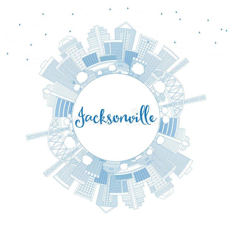 Skyline de Jacksonville do esboço com construções e espaço azuis da cópia ilustração stock
