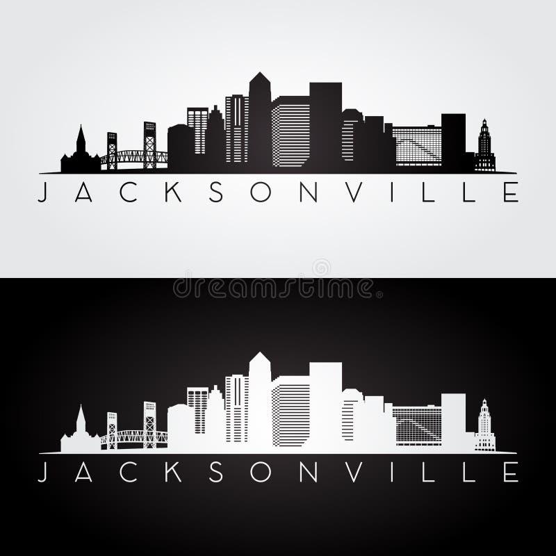 Skyline de Jacksonville EUA e silhueta dos marcos ilustração royalty free
