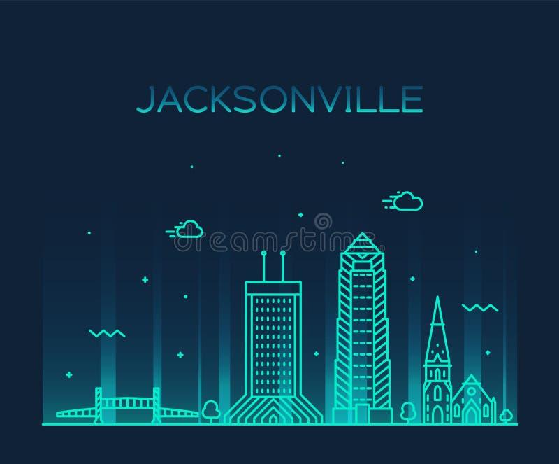 Skyline de Jacksonville, linha cidade do vetor de Florida EUA ilustração do vetor