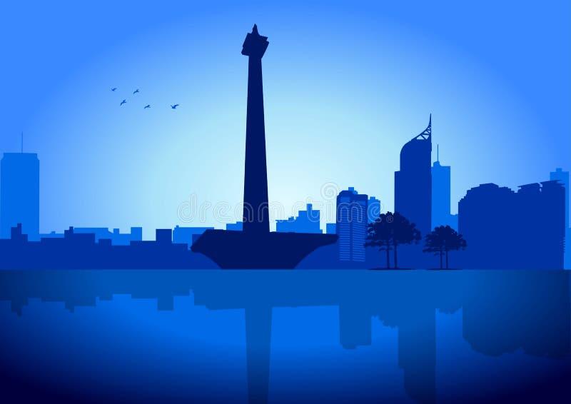 Skyline de Jakarta ilustração royalty free