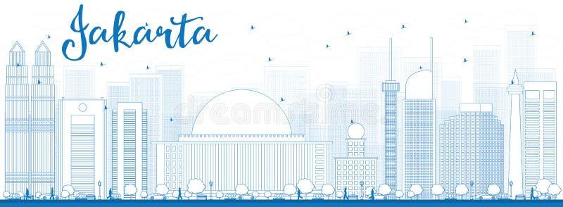 Skyline de Jakarta do esboço com marcos azuis ilustração stock