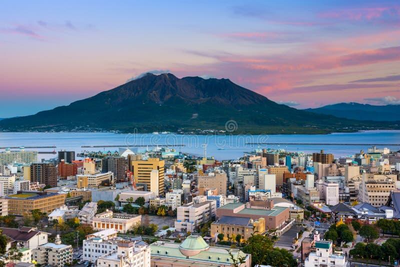 Skyline de Kagoshima imagens de stock