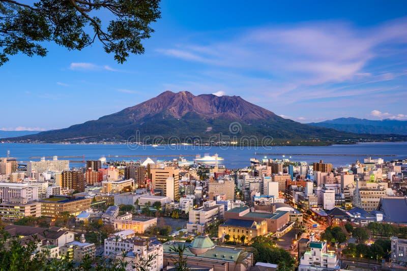 Skyline de Kagoshima Japão imagens de stock royalty free