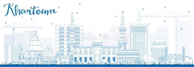 Skyline de Khartoum do esboço com construções azuis ilustração royalty free