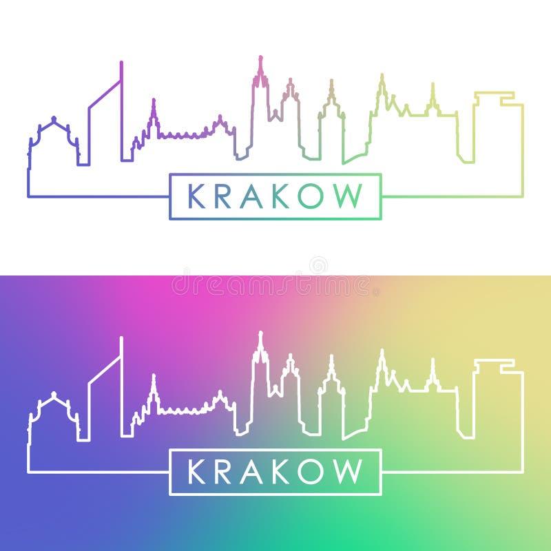 Skyline de Krakow Estilo linear colorido ilustração royalty free