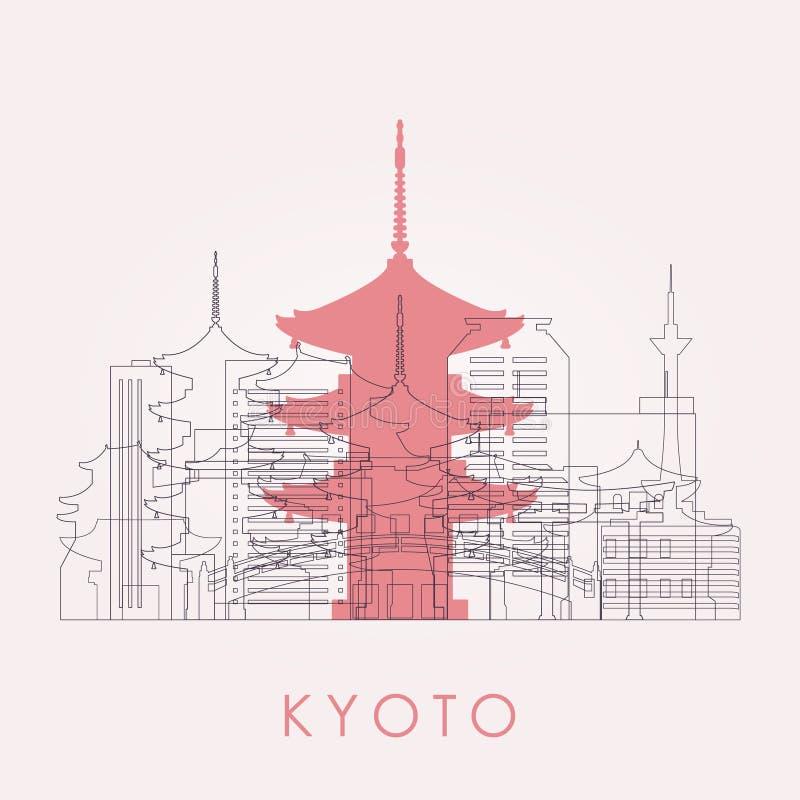 Skyline de Kyoto do esboço com marcos ilustração stock