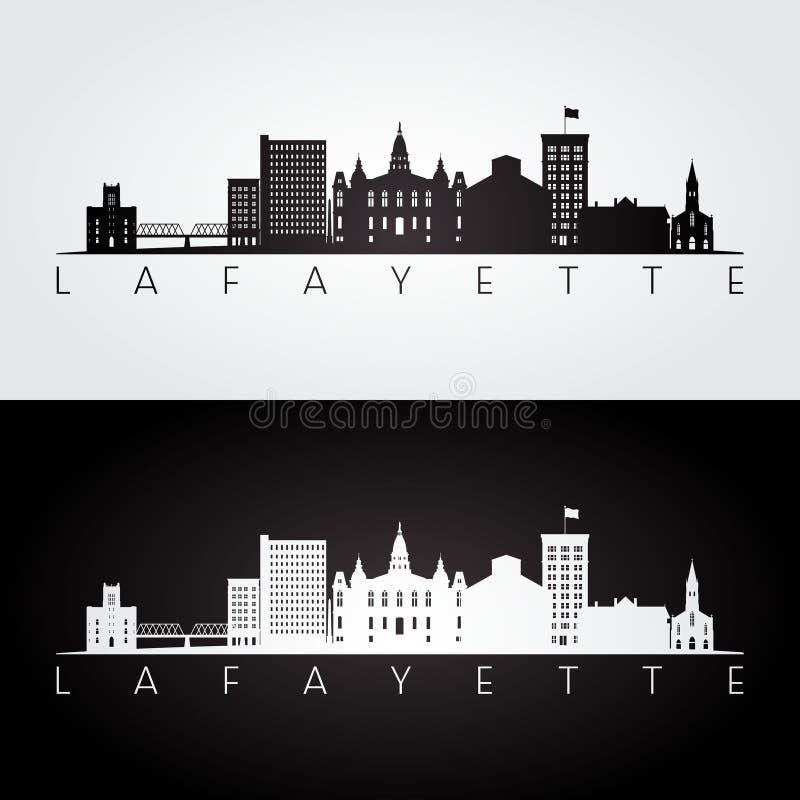 Skyline de Lafayette EUA e silhueta dos marcos ilustração stock
