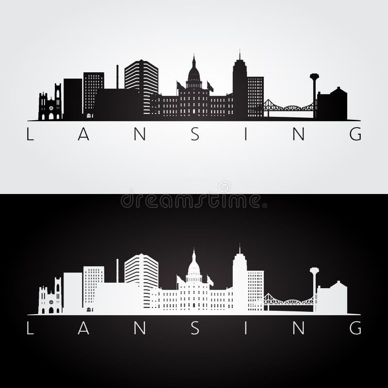 Skyline de Lansing EUA e silhueta dos marcos ilustração stock