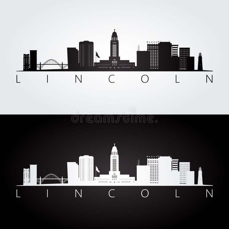 Skyline de Lincoln EUA e silhueta dos marcos ilustração stock