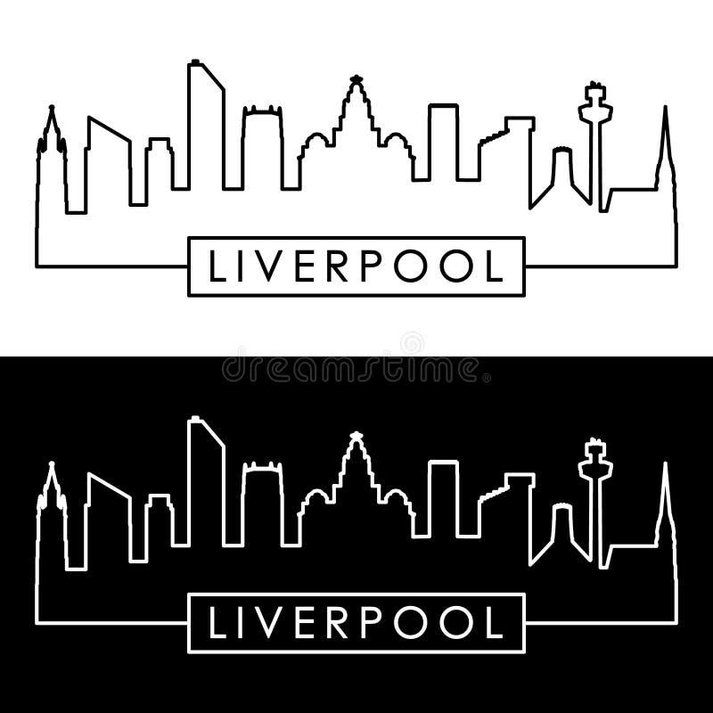 Skyline de Liverpool estilo linear ilustração royalty free