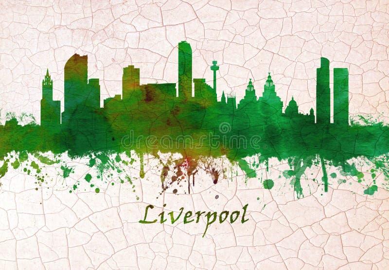 Skyline de Liverpool Inglaterra ilustração do vetor