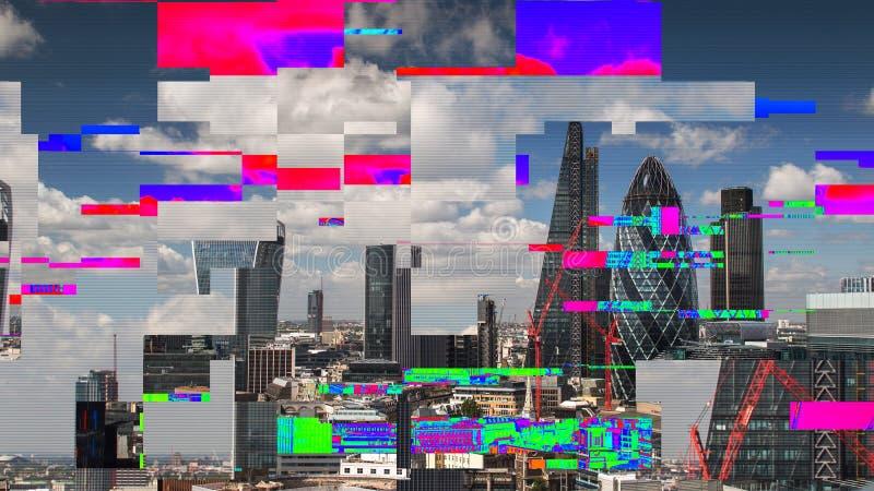 Skyline de Londres com distorção e estática da tevê imagem de stock royalty free