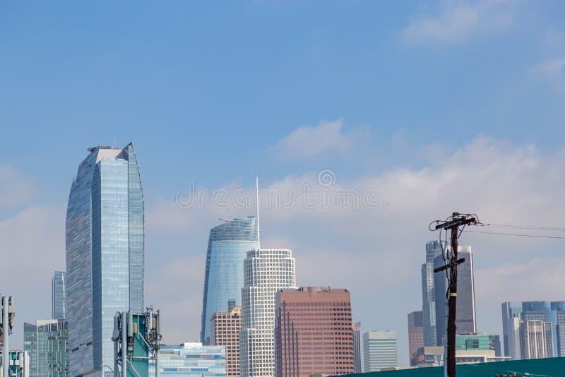 Skyline de Los Angeles Califórnia que mostra as construções do centro foto de stock royalty free