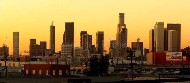 Skyline de Los Angeles do centro em Twighlight foto de stock royalty free